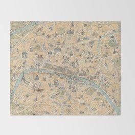 Vintage Map of Paris France (1890) Throw Blanket