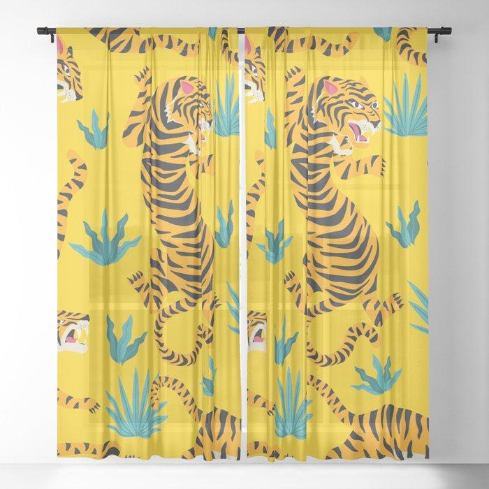 Yellow Tiger Tropical Pattern Sheer Curtain