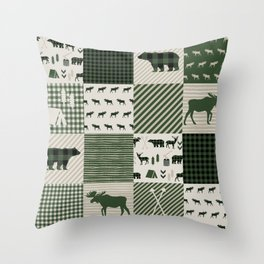 Camping hunter green plaid quilt cheater quilt baby nursery cute pattern bear moose cabin life Throw Pillow