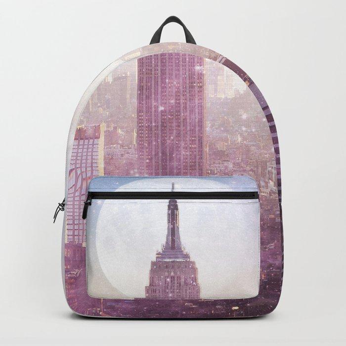 I LOVE PINK NEW YORK CITY SKYLINE - Full Moon Universe Backpack