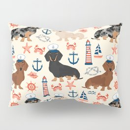 Dachshund nautical sailor dog pet portraits dog costumes dog breed pattern custom gifts Pillow Sham