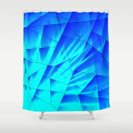Bright sunshine on celestial and blue triangles of irregular shape. Shower Curtain