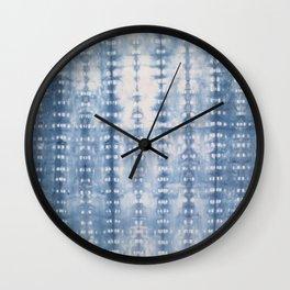 Indigo grey tie dye kaleidoscope Opaque color Wall Clock