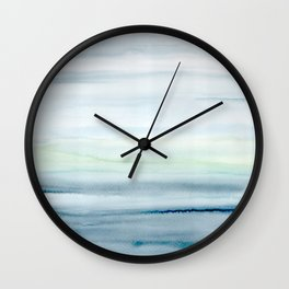 Blue Indigo Ombre Watercolor Abstract Painting  Wall Clock