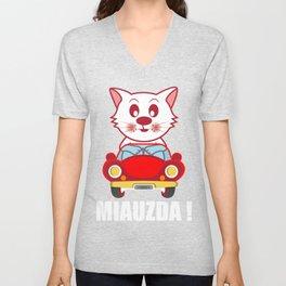 Miauzda Cat And Car Lover Gift Unisex V-Neck