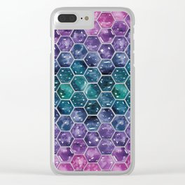 Gold Galaxy Hexagons Clear iPhone Case