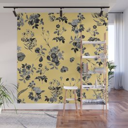 Black and White Floral on Yellow Wall Mural