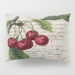 shabby elegance french country botanical illustration vintage red cherry Pillow Sham