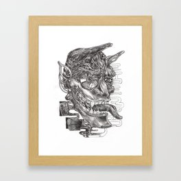 Sketching of hannya  mask Framed Art Print