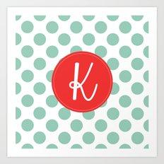 Monogram Initial K Polka Dot Art Print