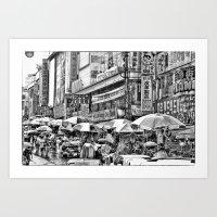 korean Art Prints featuring Korean Rain by Anthony M. Davis
