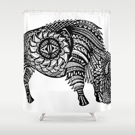 Grazing Buffalo Zentangle (abstract doodle) Shower Curtain