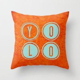 YOLO Light Blue Throw Pillow