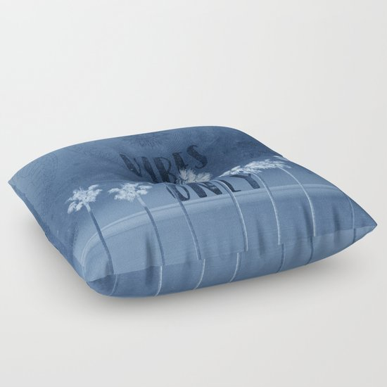 summer vibes only vintage blue Floor Pillow by Bekim ART Society6