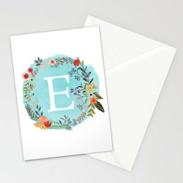 Personalized Monogram Initial Letter E Blue Watercolor Flower Wreath Artwork Stationery Cards