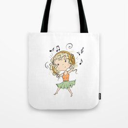 Girl With Headphones Tote Bag