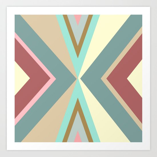 Which Way? | Abstract Tribal Blue Red Pink Triangles Pattern Art Print