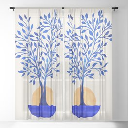 Indigo Ficus Sunrise Sheer Curtain