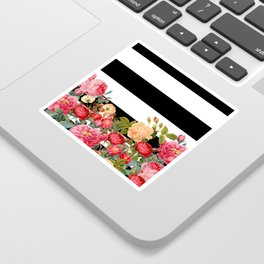 Black and White Stripe with Floral Sticker
