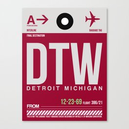 DTW Detroit  Luggage Tag 1 Canvas Print