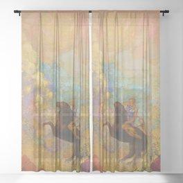 Muse on Pegasus - Odilon Redon Sheer Curtain