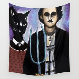 Edgar Allen Poe and Black Cat Wall Tapestry