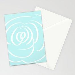 Fresh Aqua and White Rose Design Stationery Cards