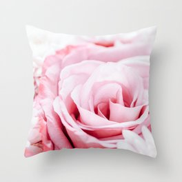 Pink Roses and Gerbera Daisy Flowers Wedding Bouquet, Love Photo, Romantic Celebration, Wall Art Throw Pillow