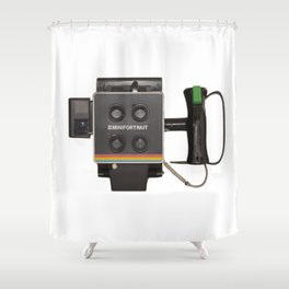 vintage instant camera Shower Curtain