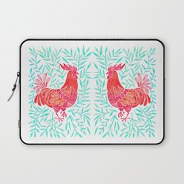 Le Coq – Watercolor Rooster with Mint Leaves Laptop Sleeve