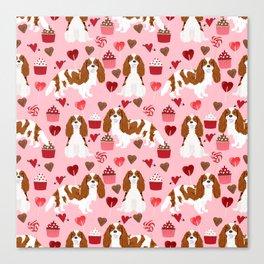 Cavalier King Charles Spaniel blenheim valentines day cupcake heart dog breed spaniels pet gifts Canvas Print