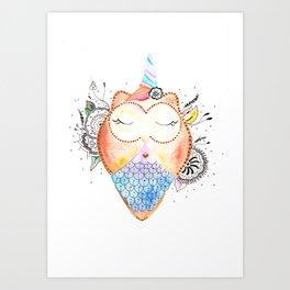 Cute Owl Watercolor Art Illustration Art Print