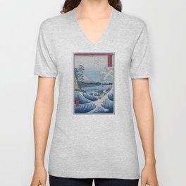 Sea Off Satta - Japanese Woodblock Print by Hiroshige Unisex V-Neck