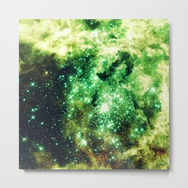 Lime Green Grass Galaxy Nebula Metal Print