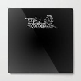 Locomotive Train - One Line Drawing Metal Print