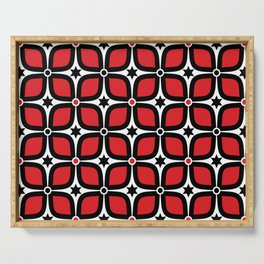 Mid Century Modern 4 Leaf Clover - Black, White, Red Serving Tray