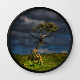 Survive I Will - Lone Gorse on Windswept Moors Wall Clock
