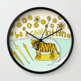 be a cool kitten // tiger cub shreds // retro surf art by surfy birdy Wall Clock