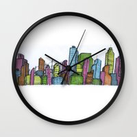 cityscape Wall Clocks featuring Cityscape  by Joseph Kennelty