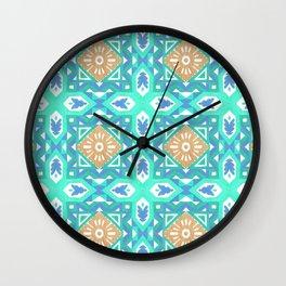 Abstract aqua blue watercolor faux gold glitter motif Wall Clock