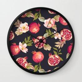 Pomegranate patterns - floral roses fruit nature elegant pattern Wall Clock