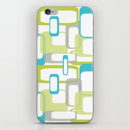 Mid-Century Modern Rectangle Design Blue Green and Gray iPhone Skin
