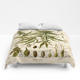 Marijuana Cannabis Botanical on Antique Journal Page Comforters