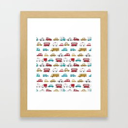 Cars trucks buses city highway transportation illustration cute kids room gifts Framed Art Print