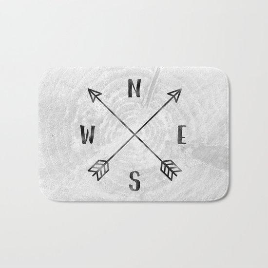 Black and White Wood Grain Compass Bath Mat