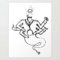 magritte Art Prints featuring Magritte Genie by Mark Prose
