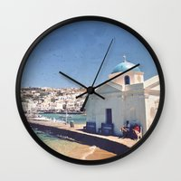 greece Wall Clocks featuring Hello, Greece by ZBOY