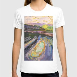 Edvard Munch - Morning Waves Against the Shore of the Coast nautical landscape painting T-shirt