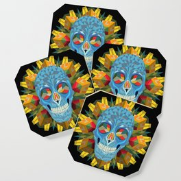 Blue Skull with Mandala Coaster