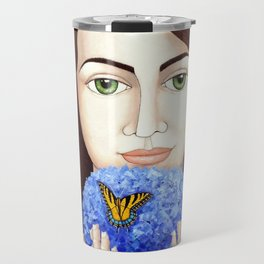 The woman who talk with butteflies Travel Mug